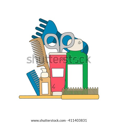 Beauty background with barber shop tools - hair dryer, comb, scissors and other tools for hair care. Vector illustration in bright color.. - stock vector