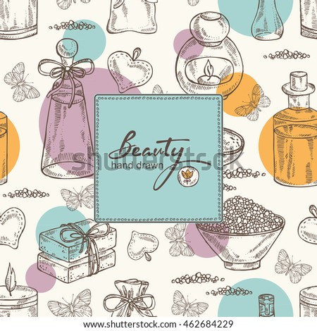 Beauty background with essential oil, soap and butterfly. hand drawn
