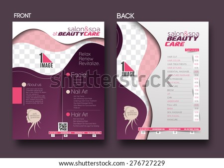 Beauty Care & Salon Flyer & Poster Template. - stock vector