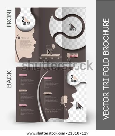 Beauty Care & Salon Tri-Fold Mock up & Brochure Design - stock vector