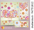 Beauty colorful card set with heart and flower, vector - stock vector