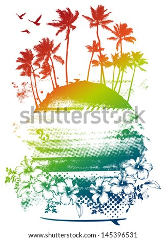 beauty colorful summer scene - stock vector