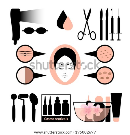 Beauty concept, collection of cosmetic surgery equipment skincare and makeup, vector.  - stock vector
