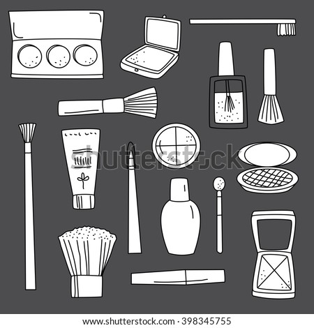 Beauty cosmetics doodle illustration icon background