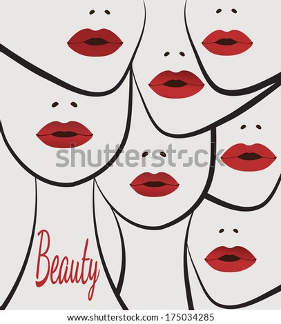 beauty faces women lips  - stock vector