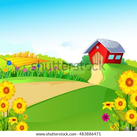 beauty farm with landscape background