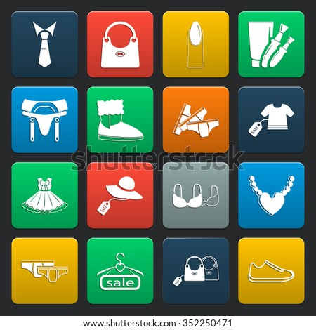 beauty, fashion, shopping  16 icons universal set for web and mobile flat