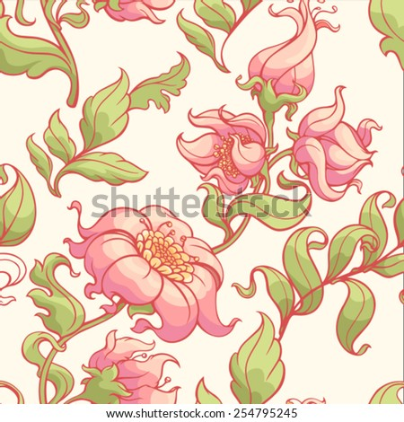 Beauty floral seamless pattern in the baroque style - stock vector