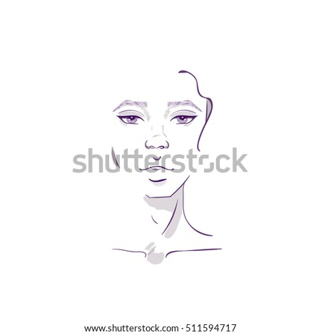 Beauty Girl Abstract Woman Face Vector Illustration Sketch