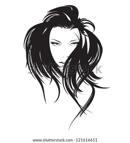 beauty girl face - stock vector