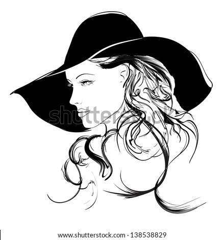 beauty girl face - stock vector
