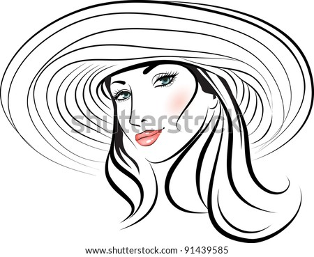 beauty girl face in a hat. design element. Vector Illustration
