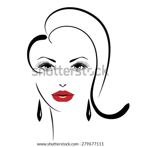 Beauty girl. Fashion beautiful woman face.  - stock vector