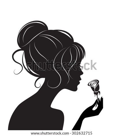 beauty girl silhouette with rose - stock vector
