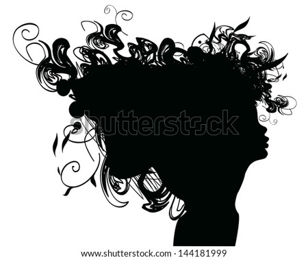 beauty girl silhouette with rose and leaf - stock vector