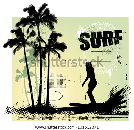 beauty girl surfing in the paradise - stock vector