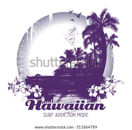 beauty grunge and vintage hawaiian beach scene - stock vector