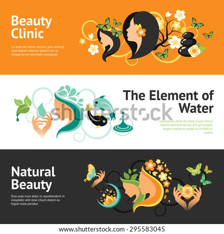 Beauty horizontal banner set  with wellness clinic elements isolated vector illustration - stock vector