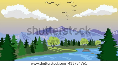 Beauty landscape with lake and mountain - stock vector