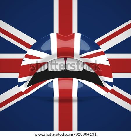 Beauty Lips with United Kingdom Flag Makeup. English fashion Design - stock vector