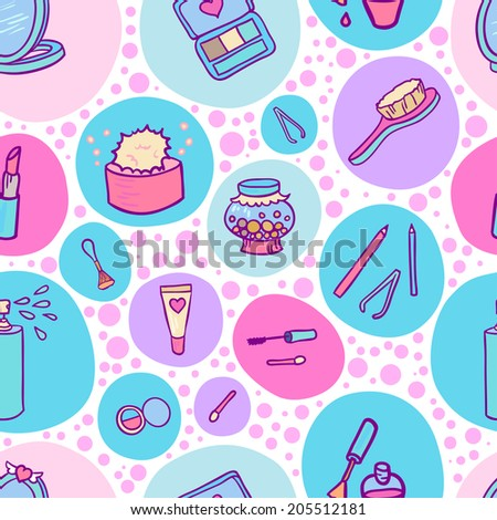 Beauty makeup set seamless fashion pattern background. - stock vector