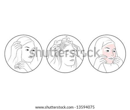 beauty mask and hair - stock vector