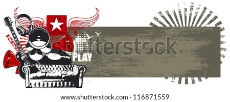 beauty music scene banner - stock vector