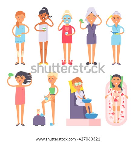 Beauty procedures healthcare, spa and beauty concept. Getting massage spa salon beauty procedures and healthcare process wellness medicine. Relax massage beauty procedures and healthcare process. - stock vector