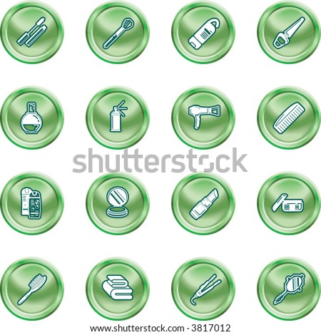 Beauty products icon set A series of design elements or icons relating to beauty, cosmetics makeup, hair care etc. - stock vector