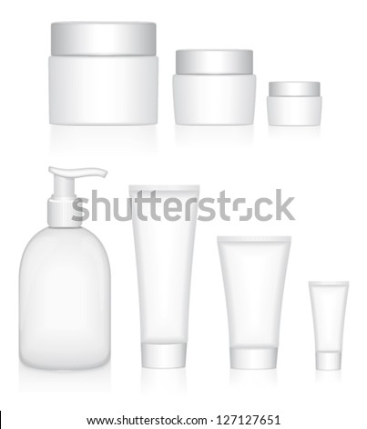 Beauty products. Packaging containers vector templates set. - stock vector