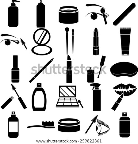 beauty products symbols set - stock vector