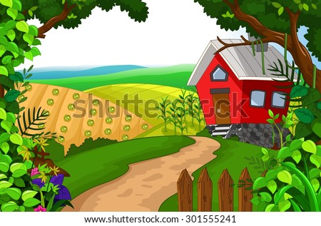 beauty red house with landscape background