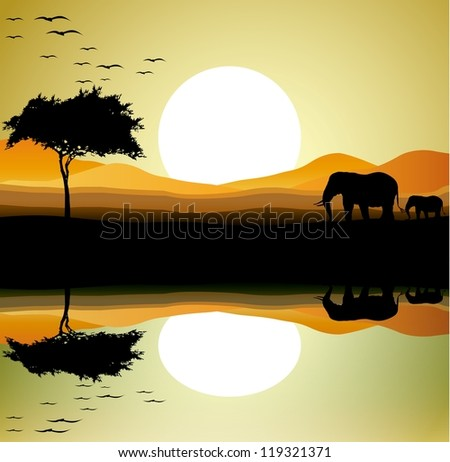 beauty safari of elephant with landscape background - stock vector