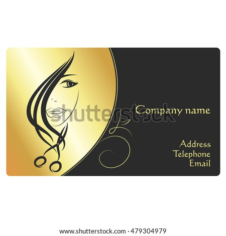 Beauty salon business card, face girl and scissors