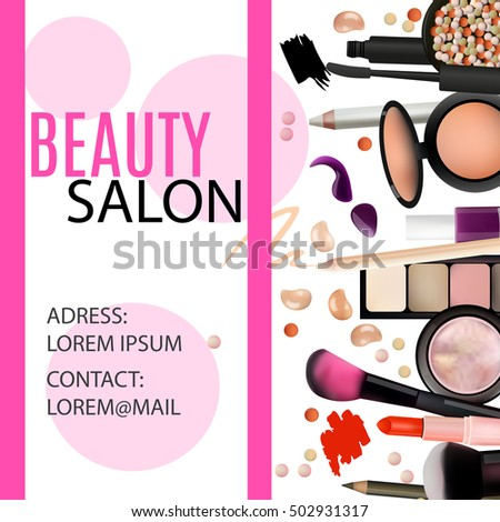 Beauty Salon Design Cosmetic Products Professional Make Up Care Printable Template For