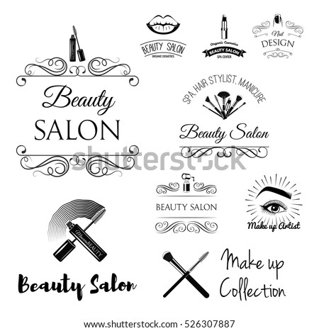Beauty Salon Design Elements Vintage Style Stock Vector