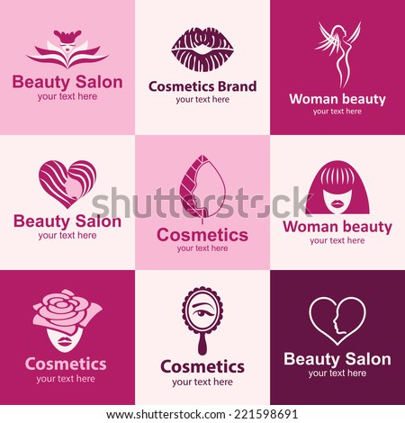 beauty salon flat icons set logo ideas for brand - stock vector