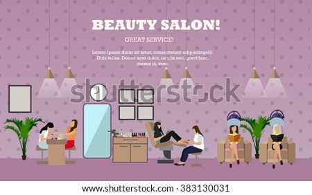 Beauty salon interior vector concept banners. Women in manicure and make up design studio. Illustration in flat cartoon style.