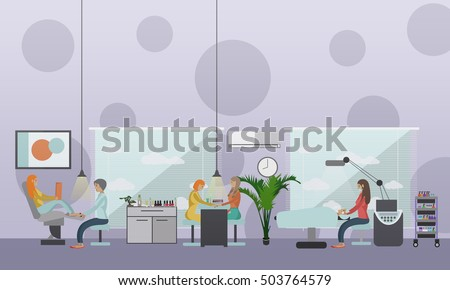 Beauty Salon Interior Vector Concept Banners Women In Manicure And Make Up Design Studio