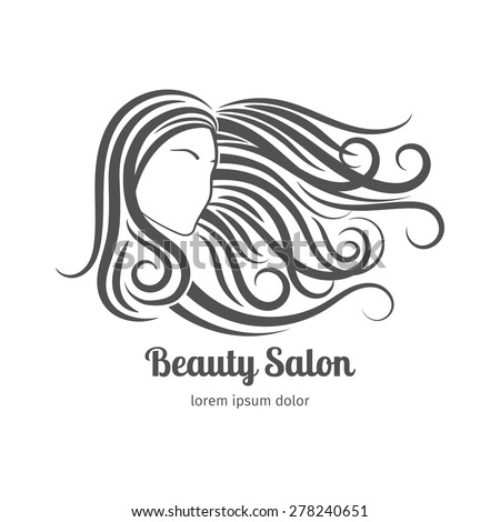 Beauty salon logo or cosmetic badge. Woman with long hair - stock vector