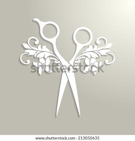 Beauty salon logo. Vector paper scissors with shadow. - stock vector