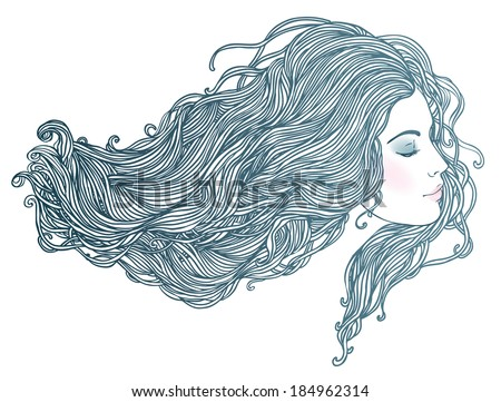 Line Art Portrait : Beauty salon portrait pretty young woman stock photo