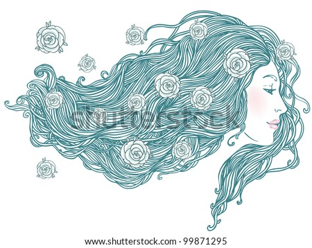 Beauty Salon: Portrait of pretty young woman in profile view with long beautiful hair with flowers. Vector illustration - stock vector