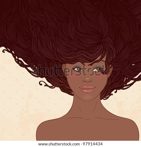 Beauty Salon: Pretty young african american woman with beautiful long hairs. Vector illustration