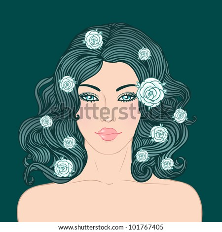 Beauty Salon: Pretty young woman with beautiful red dark hair isolated on black. Vector illustration - stock vector