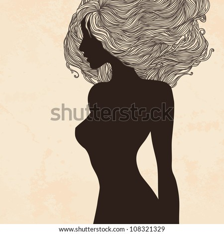 Beauty Salon:silhouette of vintage woman with beautiful hair - stock vector