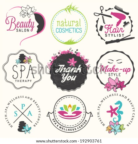 Beauty Salon, Spa and Wellness Design Elements in Vintage Style - stock vector
