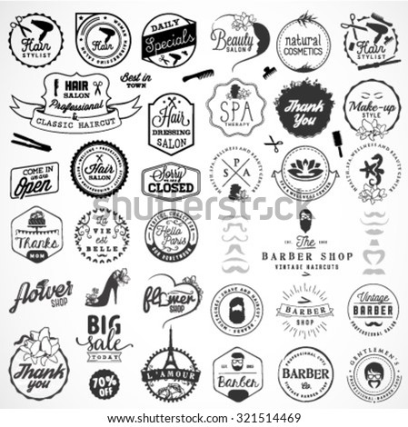 Beauty Salon, Spa, Wellness, Hairdresser and Barber Shop Badges and Design Elements in Vintage Style - stock vector