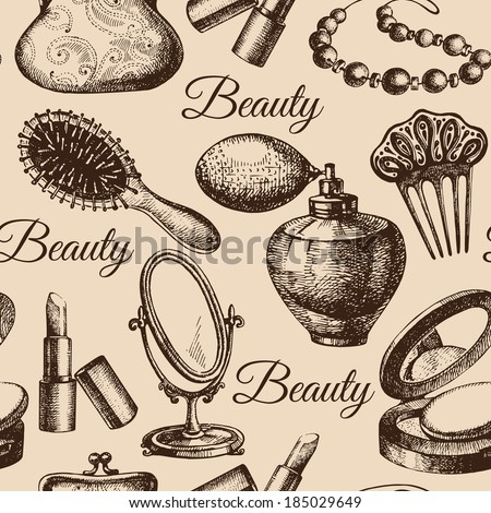 Beauty seamless pattern. Cosmetic accessories. Vintage hand drawn sketch vector illustrations  - stock vector