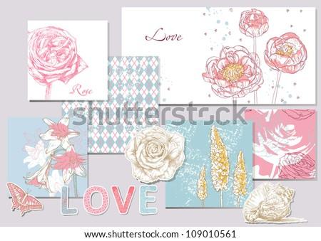 Beauty set of scrapbook design elements - stock vector